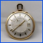 Vintage Lecoultre Memovox Alarm 14k Solid Yellow Gold Pocket Watch