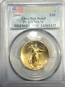 2009 St Gauden Double Eagle Ultra High Relief 20 Gold Pcgs Ms70 First Strike
