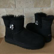 Ugg Mini Bailey Button Gem Crystal Black Suede Boots Size 9 Women