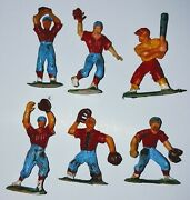 Vintage Baseball Players Plastic Cake Toppers Blue Red Lot Of 6 Pre Owned
