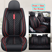 5 Seats Car Seat Covers Full Set Leather Accessories Fit For Nissan Rogue Kicks