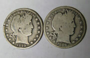 1899 1906-d Barber Silver Half Dollars Lot Of 2 Circulated Coins 41421-14