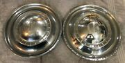 Two Vintage 1951 Kaiser Deluxe 15 Chrome Hubcaps