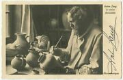 Anton Lang Sculptor W Pottery Oberammergau Actor Antique Hand Signed Rppc