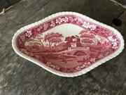 Copeland Spodeand039s Tower Pink Triangular Bowl Guc Old Mark England