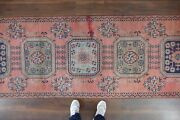 Vintage Turkish Oushak Runner Rughandwoven Wool Antique Rug Runner 3and0393x11and0391 Ft