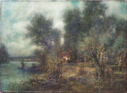 Long Island Landscape Boat On Pond Antique Oil Painting By Charles Henry Miller