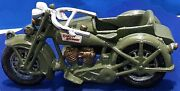 Toy Cast Iron Motorcycle And Sidecar Marked Harley Davidson No Riders Army Green
