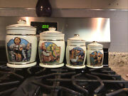 M.j. Hummel Canister Collection 4pc Set Barnyard Hero Gold Pre-loved