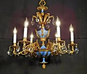 Antique French Royal Blue Empire 6 Arm 6 Lite Brass Cut Lead Crystal Chandelier