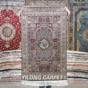Yilong 2.5and039x4and039 Medallion Tapestry Silk Carpet House Traditional Area Rug 533h
