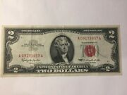 2 Dollar Bill ✯1963 Note Red Seal ✯ 2 Two ✯ Vintage Us Currency ✯ Old Money