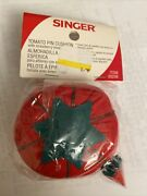 Vintage Singer Tomato And Strawberry Pin Cushion - New- In Original Pkg