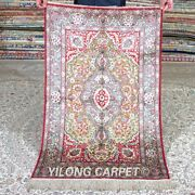 Yilong 2.5and039x4and039 Red Handwoven Silk Area Rug Antique Tapestry Porch Carpet 540a