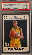 2007-08 Topps 2 Kevin Durant Seattle Supersonics Rc Rookie Card Psa 10