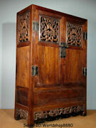 32 Old China Huanghuali Wood Dynasty Dragon Drawer Cupboard Cabinet Furniture