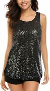 Zeagoo Womenand039s Sleeveless Sparkle Shimmer Camisole Vest Glitter Sequin Tank Tops