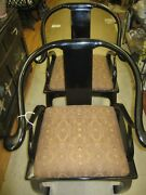 Century Chair Co. Of N.c. Mid Century Black Laquer Asian Horseshoe Chair Pair