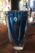 """Waterford Heavy Crystal Blue Metra Square Vase 10"""" Tall X 5"""" Wide With Sticker"""