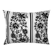 Black And White Black Jacobean Floral Stripe Pillow Sham By Roostery