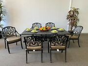 Elizabeth Outdoor Patio 7pc Dining Set With 42x72 Rectangular Table