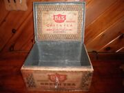 Vintage Bands Green Tea Wood Tin Lined Shipping Crate Box Hinged Lid Syracuse N.y.