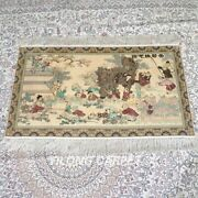 Yilong 2and039x3and039 500lines Handmade Silk Area Rug Kids Tapestry Antique Carpet 554h