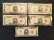 5 1963 Five 5 Dollar Bills United States Notes Red Seal Circulated