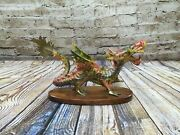 Jainson Multicolored Metal Or Brass Dragon Statue Wood Base India