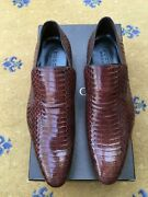 New Mens Shoes Brown Leather Snakeskin Loafers Uk 8 Us 9 Eu 42
