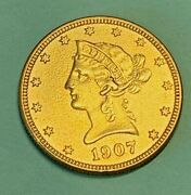 1907 Us Liberty Head 10 Gold Coin