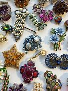 Bulk Costume Jewelry Mix Lot Brooches Necklaces Antique Vintage Estate