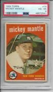 1959 Topps Mickey Mantle 10 Baseball Card Psa 4 Very Good-excellent Yankees