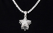 Drip Star Stones Out Cubic Zirconia Pendants For Men In Sterling Silver