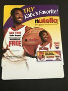 2001 Kobe Bryant Nutella Cardboard Store Display Sign W/ Coupons 15x19 Lakers