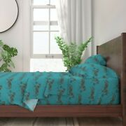 Blue Green Equestrian Horse Toile 100 Cotton Sateen Sheet Set By Roostery
