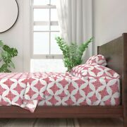 Red Snowflake Nature 100 Cotton Sateen Sheet Set By Roostery