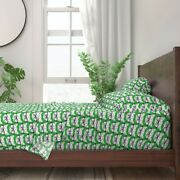 Cat Nerd Green Cats With Glasses Animal 100 Cotton Sateen Sheet Set By Roostery