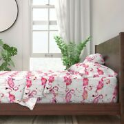 Large Scale Pink Flamingo Watercolor 100 Cotton Sateen Sheet Set By Roostery