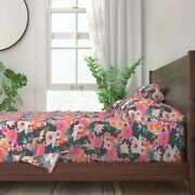 Modern Floral Watercolor Blooms Pink 100 Cotton Sateen Sheet Set By Roostery