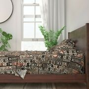 Brown Mudcloth Tiki Tapa Bark Cloth 100 Cotton Sateen Sheet Set By Roostery