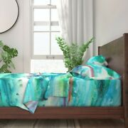 Aquamarine Abstract Blue Green Purple 100 Cotton Sateen Sheet Set By Roostery