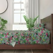 Birds Bird Floral Pink Turquoise 100 Cotton Sateen Sheet Set By Roostery
