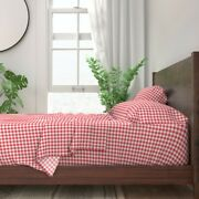 Check Summer Red And White Picnic Plaid 100 Cotton Sateen Sheet Set By Roostery