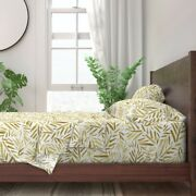 Leaves Tropical Botanical Baby Palm 100 Cotton Sateen Sheet Set By Roostery