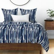 Stripe Indigo Blue Diy Ikat Painted Sateen Duvet Cover By Roostery