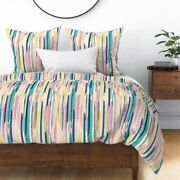 Abstract Brush Stroke Brushstroke Pastel Painted Sateen Duvet Cover By Roostery