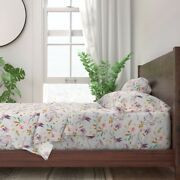Flamingo Tropical Pink Bird Rose Floral 100 Cotton Sateen Sheet Set By Roostery