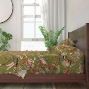 Parrot Tropical Floral Bird Botanical 100 Cotton Sateen Sheet Set By Roostery