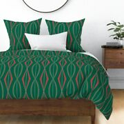 Christmas Mid Century Modern Red And Green Retro Sateen Duvet Cover By Roostery